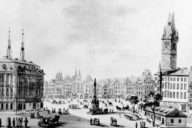 Dobový obrázek Staroměstského náměstí v Praze s Mariánským sloupem