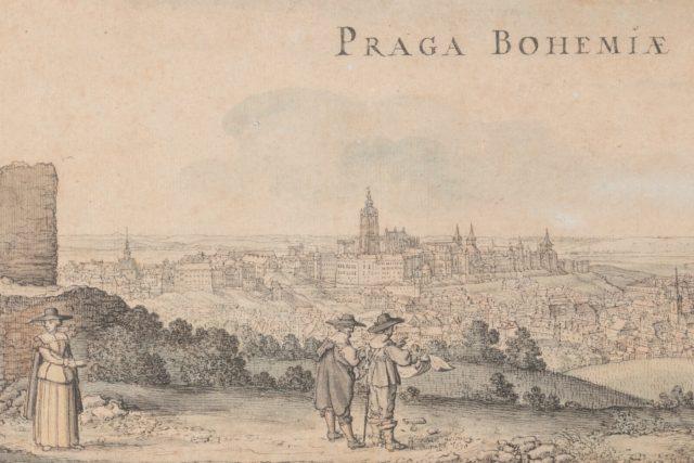 Velký pohled na Prahu ze svahu Petřína | foto: Václav Hollar,  Národní galerie