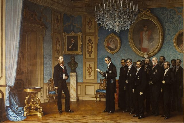 Cesare Dell'Acqua: Mexická delegace nabízí Maxmiliánovi Rakouskému mexický trůn | foto: Wikimedia Commons,  CC0 1.0