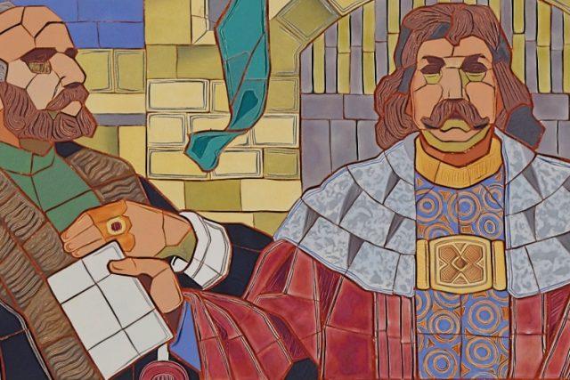 Mozaika na Gymnáziu Jana Opletala v Litovli podle návrhu Jano Köhlera: Jiří z Poděbrad zakladatel zlatého věku Litovle 1491. | foto:  Gampe,  Wikimedia Commons,  CC BY-SA 4.0