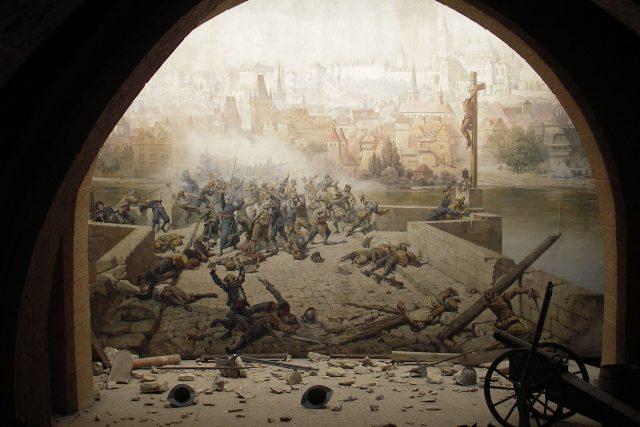 Boje o Karlův most na dioramatu v Zrcadlovém bludišti na Petříně | foto: Wikimedia Commons,  CC0 1.0