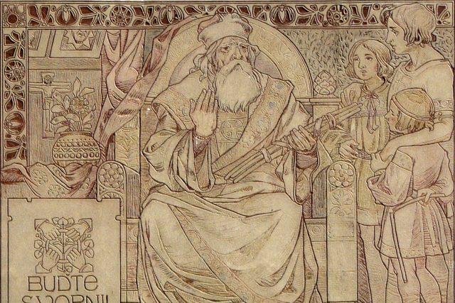 Svatopluk I. se třemi syny – Mojmírem II., Svatoplukem II. a Predslavem
