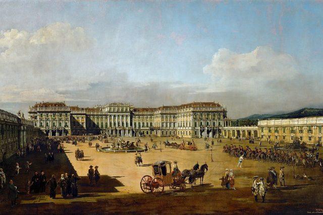Zámek Schönbrunn   foto: Bernardo Bellotto  (1722–1780),  Wikimedia Commons,  CC0 1.0