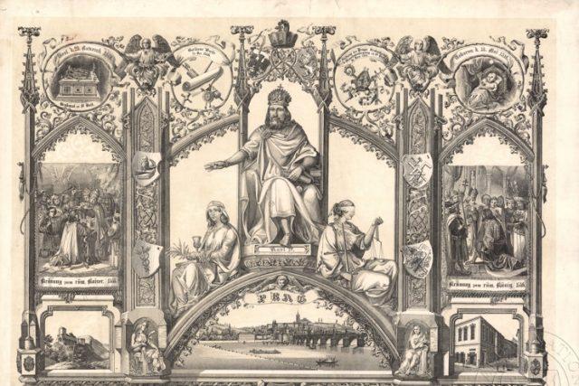 Pamětní list k 500. výročí založení Karlovy univerzity s postavou Karla IV.