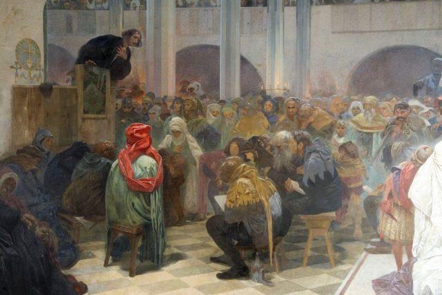 Kázání Mistra Jana Husa v kapli Betlémské: Pravda vítězí  (výřez z obrazu z cyklu Slovanská epopej) | foto: Alfons Mucha,  Wikimedia Commons,  CC0 1.0