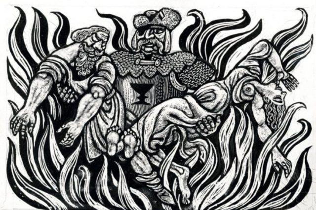 Jan Žižka zachraňující muže a ženu z plamenů | foto: Zdeněk Mézl,  eSbírky – kulturní dědictví on-line,  Národní muzeum,  CC BY-NC-ND 4.0