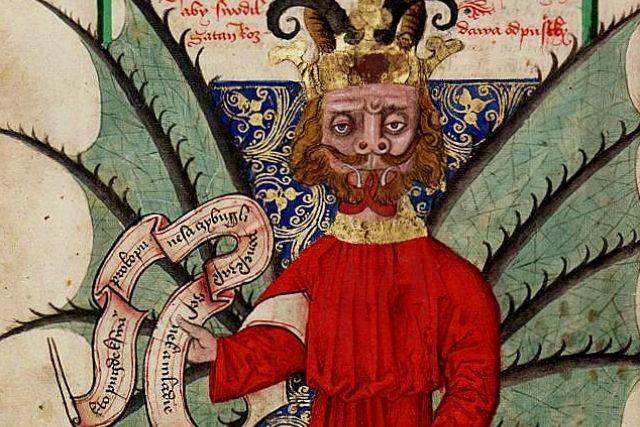 Satan prodává odpustky. Vyobrazení z Jenského kodexu