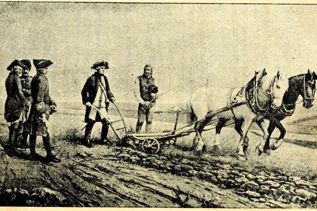 Josef II. u pluhu ve Slavíkovicích | foto: Wikimedia Commons,  CC0 1.0