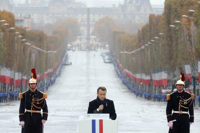 Emmanuel Macron během projevu k příležitosti 100 let od konce první světové války