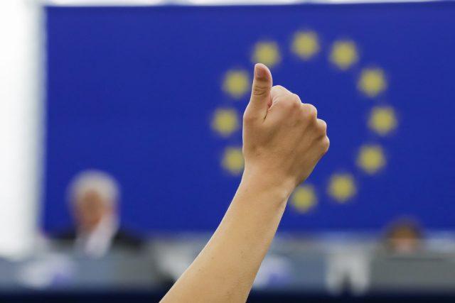 Hlasování poslanců v Evropském parlamentu ve Štrasburku