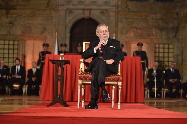 Prezident Miloš Zeman během projevu při předávaní státních vyznamenání 28. října 2019   foto: Pražský hrad