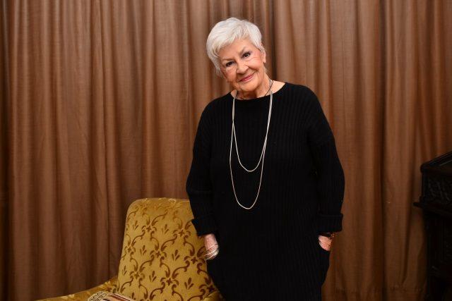 Televizní hlasatelka Kamila Moučková při oslavě 90. narozenin   foto: Petr D. Mráček,  Český rozhlas