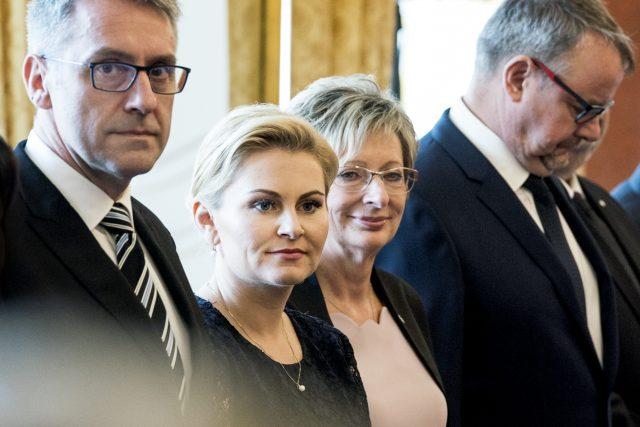 Taťána Malá, Lubomír Metnar a Marta Nováková při jmenování vlády