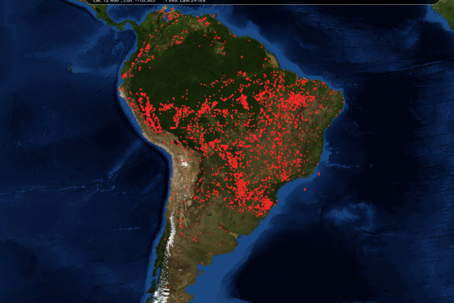 Rozšíření požárů v Jižní Americe.
